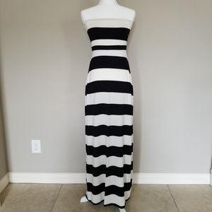 Old Navy Strapless Black & Cream Stripe Dress - MT